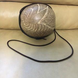 🌻3/$12 NEW! Cuastecomate Jicaro Carved Purse Bag